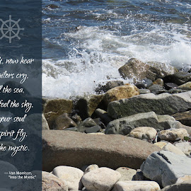 Into the Mystic by Susan Englert - Typography Quotes & Sentences ( waves, sailors, ocean, rocks, shoreline, shore, mystic, sea, rocky )