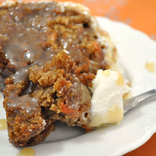 Best Ever Carrot Cake with Caramel Rum Sauce