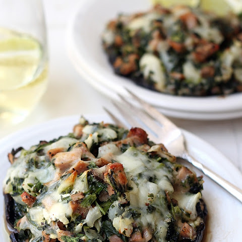 Spinach and Goat Cheese Stuffed Portobello Mushroom {chicken sausage optional}