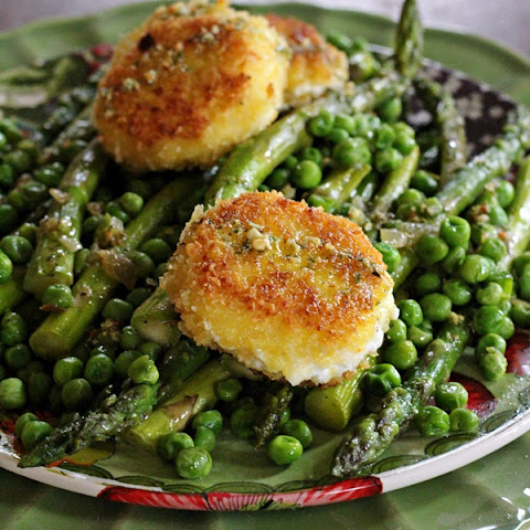 Asparagus, Peas and Onions with Basil Dressing and Goat Cheese Croquettes