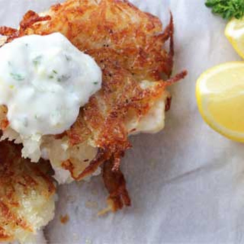 Potato Crusted Grouper with Cream-Herb Sauce