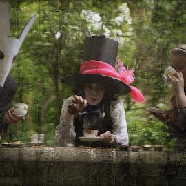 tea party by Kathleen Devai - Digital Art People ( rabbit, wonderland, alice, party, mad hatter )