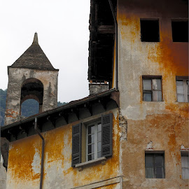 Chiavenna, Lombardy, Italy by Serguei Ouklonski - Buildings & Architecture Decaying & Abandoned ( bell tower, color, city, exterior, facade, low angle view, scenic, scenery, house, building, building exterior, street, day, italy, architecture, sky, no person, town, old, built structure, streetview architecture, traditional, urban, outdoors, lombardy, window, travel, wall, no people )