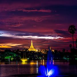 Landmark of Yangon by Pyi Maung - Landscapes Travel ( twilight photography, landscape photography, travel photography,  )