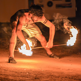 Promethian Tribal Fire Dancer by Carole Merz - People Musicians & Entertainers ( fire light, fire dance, tribal, fire, rock festival,  )
