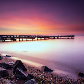 two minutes of blue hour   by Edward Kreis - Landscapes Sunsets & Sunrises ( rgnd, blue hour, baltimore, chesapeake bay, neutral density, 139 seconds, singh ray filters, ft armistead, lee filters, dawn, soft colors, patapsco river, pier, summer, long exposure, sunrise, fishing, little stopper )