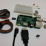 Raspberry Pi, solderless breadboard, HDMI, jumper, LED, switch, MicroSD...