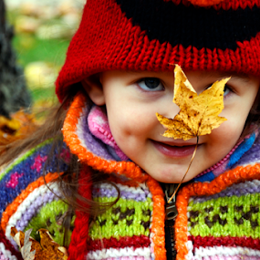 Audrey In The Fall by Lacy Gillott - Babies & Children Toddlers ( child, nature, season, fall, children, outside, portrait )