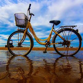 Bike on beach by Do AmateurPic - Transportation Bicycles ( beach, sea, bike )
