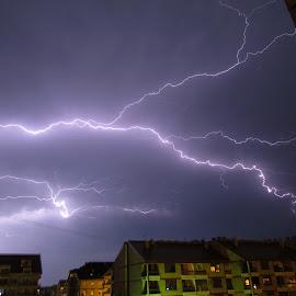 Strike by Zeljko Secujski - Landscapes Weather ( flash, lightning, strike, sky, munja, buildings, electricity, storms, nightscapes )
