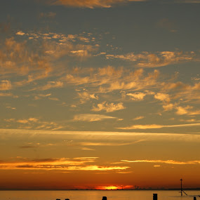 by Maya Farebrother - Landscapes Cloud Formations ( clouds, orange, sky, blue, sunset, beach, landscape )