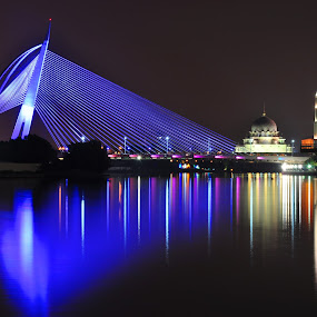 Putrajaya Bridge by Lina Sariff - City,  Street & Park  Vistas ( reflection, night view of putrajaya, mosque, putrajaya, bridge )