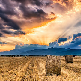 At sunset by Plamen Petkov - Landscapes Sunsets & Sunrises ( clouds, field, sky, colors, sunset, summer, hay bale, farm field )