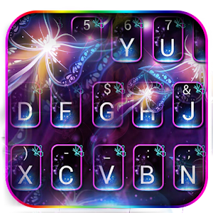 Download Neon Flaming Butterfly Keyboard Theme for PC