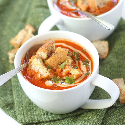 Roasted Red Pepper Soup with Tahini Swirl and Garlic Bread Croutons