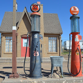Back When by Gloria Straight - City,  Street & Park  Historic Districts ( old gas station, old stuff,  )