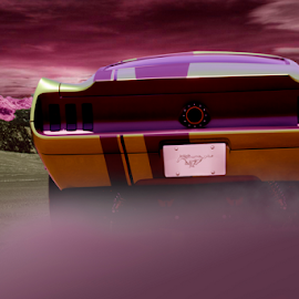 by Todd Young - Digital Art Things ( mustang, purple, fog, cars, ford )