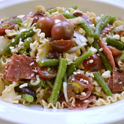 Greek Style Pasta Salad with Green Beans & Tomatoes