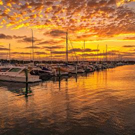 Marina Sunset by Keith Walmsley - Landscapes Sunsets & Sunrises ( victoria, coast, reflection, sunset, australia, boats, clouds, water, landscape )