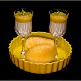 Mango Panna Cotta by Kishore Bakshi - Food & Drink Plated Food ( desserts, mango, plated food, yellow, panna cotta,  )