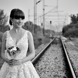 railroad by Sasa Rajic Wedding Photography - Wedding Bride ( blackandwhite, wedding photography, wedding day, weddings, wedding, wedding photographer, sasarajic )