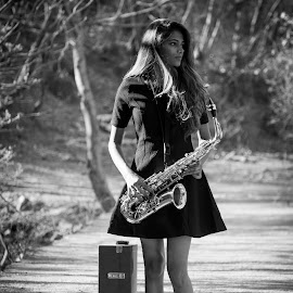 solitude by प्रियांका राव - People Musicians & Entertainers ( #saxophone, #tunes, #musician, #photophile, #music, #blackandwhite )