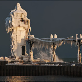 Lighthouse Drama by Jon Kinney - Buildings & Architecture Other Exteriors ( ice, lighthouse,  )