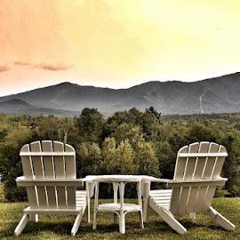 Sit a Spell by Debra Graham - City,  Street & Park  Vistas ( inviting seating )