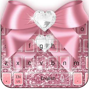 Rose Gold Diamant Bogen Pink Glitter Keyboard android apps download