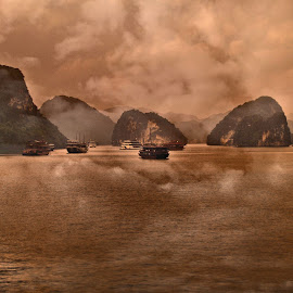 Ha Long Bay #1 by Cal Brown - Digital Art Places ( travel location, waterscape, boats, ha long bay, digital art, vietnam, places, travel photography )