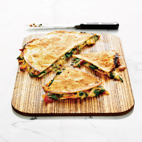 Pear, Stilton and tomato quesadillas