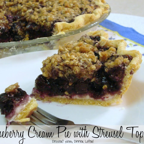 Blueberry Cream Pie with Streusel Topping