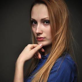Lady in blue by Cristina Gusatu - People Portraits of Women