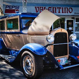 Old Model by Dave Lipchen - Transportation Automobiles ( old car, valentino, blue, street scene, gold )