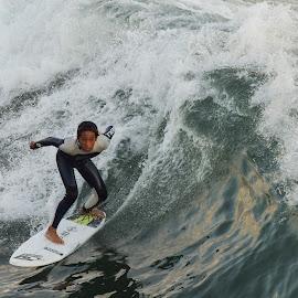 HB Surfer by Jose Matutina - Sports & Fitness Surfing ( water, surfer, orange county, california, sport, huntington beach )