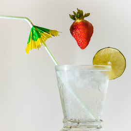 Diving Strawberry by Barry Carter - Food & Drink Alcohol & Drinks ( water, red, still life, cocktail, diving, cool drink, strawberry )