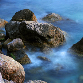 Stones in the see by Oleksii Liebiediev - Nature Up Close Rock & Stone ( water, see, blue, waves, sea, stones, rocks, slow shutter,  )