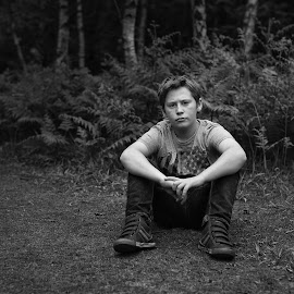 Milo in Perry Wood by Dan Horton-Szar ARPS - Babies & Children Child Portraits ( countryside, child, monochrome, black and white, kent, family, outdoor, woodland, perry wood, boy, rural, portrait )