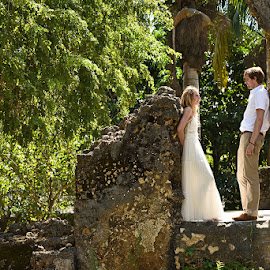 The Ruins by Andrew Morgan - Wedding Bride & Groom ( love, zanzibar, wedding, ruins, bride, groom )