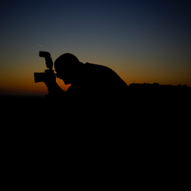 Silhouette  by Shaun White - People Portraits of Men ( sunset, silhouette, photographer, dusk, evening, dorset, colours )