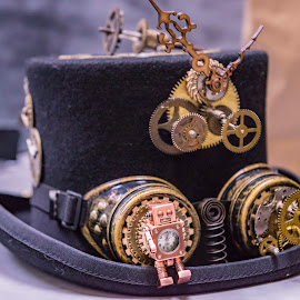 Steampunk Hat by Darrell Evans - Artistic Objects Clothing & Accessories ( fancy dress, cogs, brim, clock, no people, goggles, tophat, costume, steampunk, black, hat )