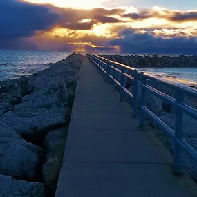 Huron Sunrise by Flora Ehrlich - Novices Only Landscapes ( michigan, lexington, sunset, lake huron, pier, lake, beach, sunrise, dock )