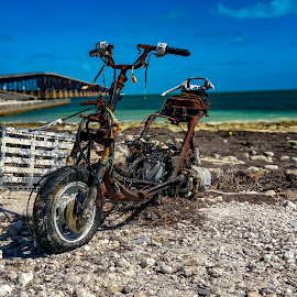 All Washed up  by Stephanie Lyons - Transportation Motorcycles ( bahia honda state park, spanish harbor keys, blue sky, washed up, hurricane maria, mm 36, rt 1, hurricane )