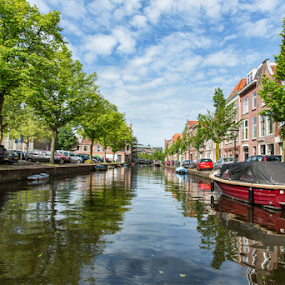 Leiden by Merina Tjen - Lim - City,  Street & Park  Neighborhoods ( leiden; holland; canal; boat; water )