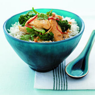 Satay Chicken Stir-Fry with Snow Peas and Cilantro