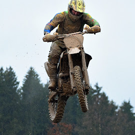 Something In The Air! by Marco Bertamé - Sports & Fitness Motorsports ( bike, mud, rainy, motocross, clumps, race, jump, competition )