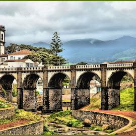 A Bridge in Portugal by Anita Atta - Buildings & Architecture Bridges & Suspended Structures ( mountains, structure, church, bridge, portugal, azores )