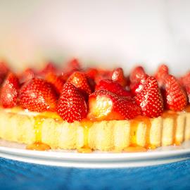Strawberry delight by Annette Flottwell - Food & Drink Cooking & Baking ( cake, fruit, desert, tart, fresh, summer, strawberry )