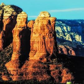 Coffee P{ot Rock by Dave Walters - Landscapes Mountains & Hills ( coffee pot rock, az., nature, lumix fz200, sedona, landscape, colors )