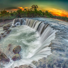 Parigi Waterfall by Mc Pujiyanta - Landscapes Waterscapes ( water, bekasi, parigi, waterscape, sunset, indonesia, waterfall, landscape photography, landscapes )